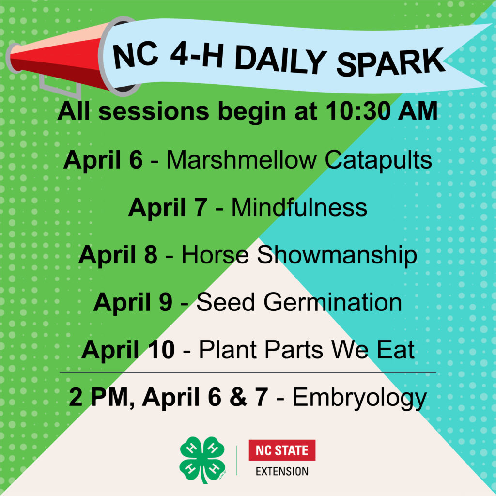 NC 4-H Daily Spark Schedule_Week of April 6_Facebook Live