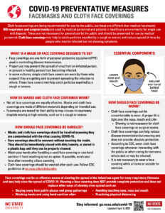 Informational handout that provides best practices on facemasks and cloth face coverings related to COVID-19.