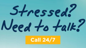 """Hope4NC Helpline graphic that reads, """"Stressed? Need to talk? Call 24/7."""""""